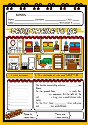 English Worksheets: THERE TO BE 1