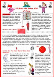 English Worksheet: All about the Great Wall of China