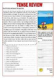 English Worksheet: Tense review: 2 pages: Simple Present, Present Continuous, Simple Past,Future going to