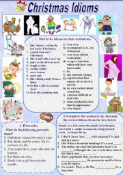 English Worksheet: Christmas Idioms and Proverbs (with Keys)