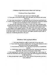 English Worksheets: Christmas Superstitions reading comprehension and fill in