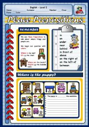 English Worksheet: PLACE PREPOSITIONS