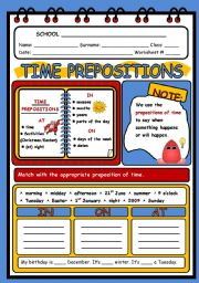 English Worksheets: TIME PREPOSITIONS - 2 PAGES