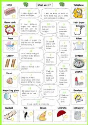 English Worksheets: What am I? (with objects)