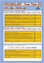 English Worksheet: VOCABULARY: SPORTS, CINEMA, LITERATURE, MUSIC (2/3)