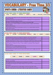 English Worksheet: VOCABULARY: SPORTS, CINEMA, LITERATURE, MUSIC AND GAMES ( 3/3)
