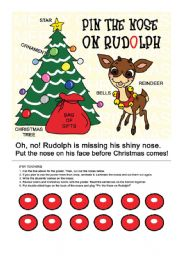 English Worksheet: Pin the Nose on Rudolph