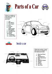 English Worksheet: Parts of a Car - 2 pages