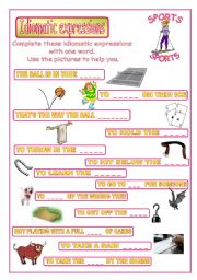 English Worksheet: Idiomatic expressions - SPORTS -