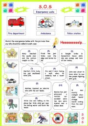 s o s emergency calls esl worksheet by mouna mch. Black Bedroom Furniture Sets. Home Design Ideas