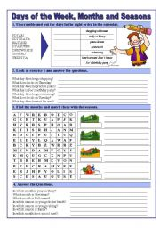 English Worksheet: Days of the Week,Months and Seasons