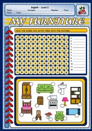 English Worksheets: MY FURNITURE