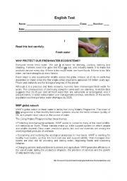 English Worksheet: English Test - 11th grade - The Environment