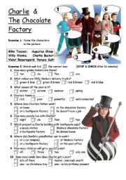 English Worksheet: PART 1/4 Charlie & The Chocolate Factory - movie worksheet