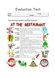 English Worksheet: AT THE RESTAURANT (1 of 2)