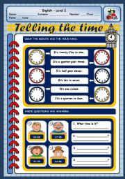 English Worksheet: ASKING AND TELLING THE TIME - PART TWO