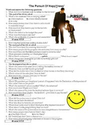 English Worksheet: Movie Worksheet: Pursuit of HappYness - WITH KEY!!!