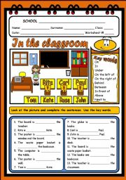 English Worksheet: IN THE CLASSROOM - PLACE PREPOSITIONS