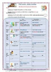 English Worksheets: daily routine...   pair work and  follow up activity