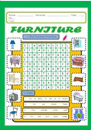 English Worksheets: Furniture wordsearch