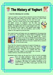 English Worksheets: The History of Yoghurt - 2 pages + key