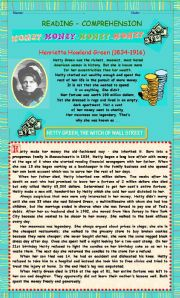 English Worksheets: READING COMPREHENSION - �The Witch of Wall Street� (Two pages)
