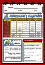 English Worksheet: ALEXANDER´S TIMETABLE