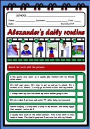English Worksheets: ALEXANDER�S DAILY ROUTINE (2 PAGES)