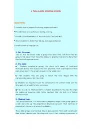 English Worksheet: a task-based cooking lesson