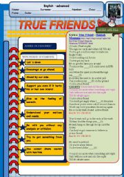 English Worksheets: TRUE FRIENDS