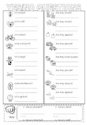 English Worksheets: yes/no questions (easy)