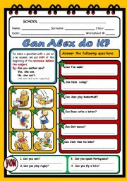 English Worksheets: ABILITIES - CAN (INTERROGATIVE - YES/NO QUESTIONS)
