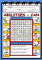 English Worksheet: ABILITIES (ACTIONS) - WORDSEARCH