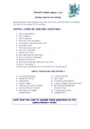 English Worksheets: THE LOST WORLD chapters 1 & 2