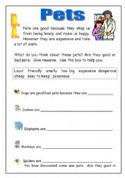 English Worksheets: Pets: Good or bad