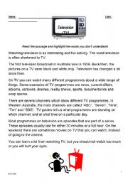 English Worksheets: Television Reading & Comprehension