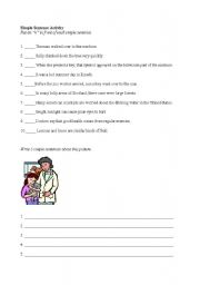 English Worksheets: Simple Sentence Activity