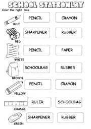 school stationery worksheet (2 pages)