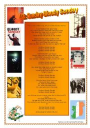 English Worksheets: U2: Sunday Bloody Sunday Comprehension and Research Worksheet