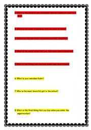 English Worksheets: Weird Questions Fun Activitiy