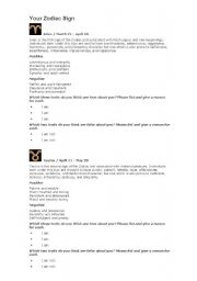 English Worksheets: Your Zodiac Sign