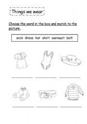 English Worksheets: Things we wear 02