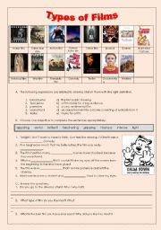 English Worksheets: types of films