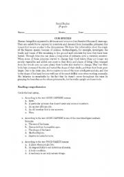 English Worksheets: Our Species: The Origin of Homo Sapiens