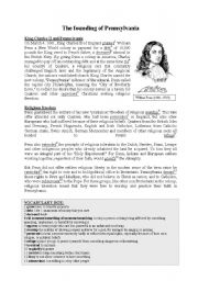 English Worksheets: The founding of Pennsylvania