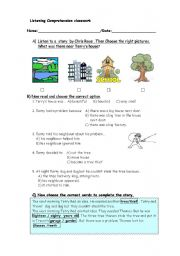 english worksheets listenig comprehension the three tree thieves. Black Bedroom Furniture Sets. Home Design Ideas