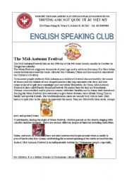 English worksheet: Reading about Mid Autumn Festival