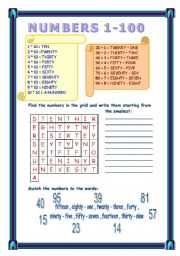 English Worksheet: numbers 1-100