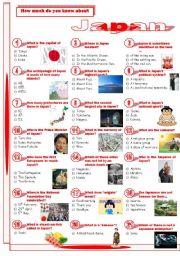 English Worksheet: Japan-Quiz