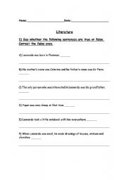 English Worksheet: Who was Leonardo Da Vinci (Activities)